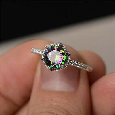 Exquisite Women's Silver Ring Princess Cut Mystic Rainbow Engagement ONE