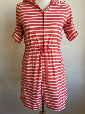 a6ede68e2c218 Lands End Swimsuit Cover Up Hoodie Dress Swimwear Pink Stripe Knit Size X  Small