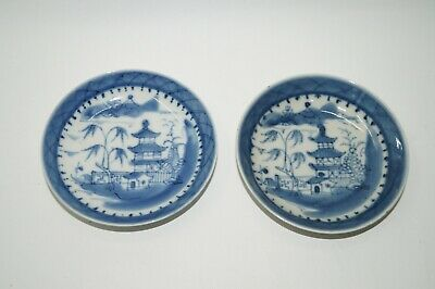 Pair of Qing dynasty 18th century blue and white saucer dish Pagoda motif