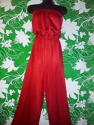 Vintage 80s Red Strapless Jumpsuit Size M