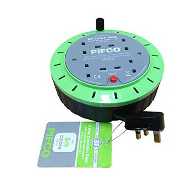 PIFCO 5M & 4 Way 13 AMP Electric Extension Cable Reel Mains Plug & Socket Lead