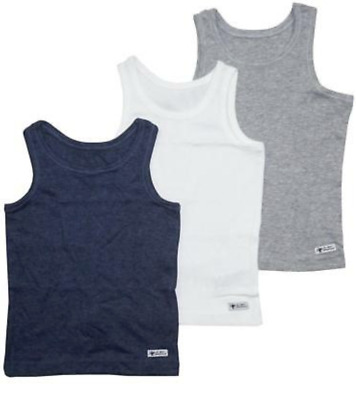 Ex Store Baby Boys Pack of 3 Navy Grey White Vests Age 18/24 Months New