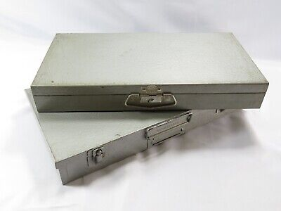 Lot of 2 Storage Archival Containers Metal  Box for 35mm Slides 150 Slots Each