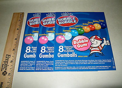 3 Orig Dubble Bubble Fruit Flavor Gumballs Bulk Vending Machine Product Labels