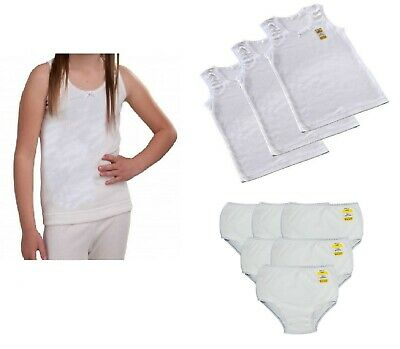 Girls Vests Briefs Set 3,6 Pairs Pants Knickers White 100% Cotton Lace Trim Kids