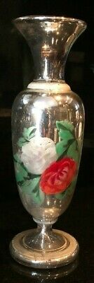 Antique Mercury Glass Vase with Beautiful Handpainted Flowers and Leaves c.1800s