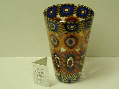 Signed XL Murano Glass Vase Patchwork Murrine Eli Vetri D;Arte Formentello