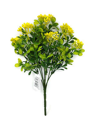 Artificial Berry Bush x 30cm - Yellow Green Wildflower Leaf Foliage Plant