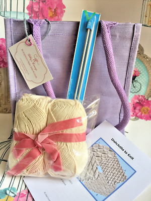 Dishcloth Knitting Kit: Milward Needles, Craft Cotton, Instructions & Carry Bag