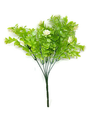 Artificial Cream Flower Plastic Greenery Bush x 32cm Wildflower Leaf Plant