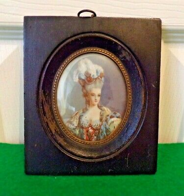 Antique Marie Antoinette Miniature Portrait Artist Signed very well painted