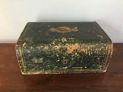 Victorian Campaign Box / Leather Bound Stationary Writing Slope / No Key