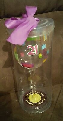 wine glass - Happy Birthday - 21st presents - liquid therapy - free shipping