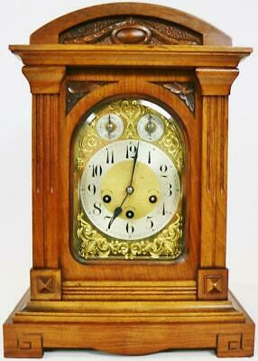 Antique Junghans 8 Day Carved Oak Mantel Westminster Chime Musical Bracket Clock