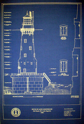 "Lighthouse Plan Michigan Rock of Ages 1908 Blueprint Drawing 16""x20"" (296)"
