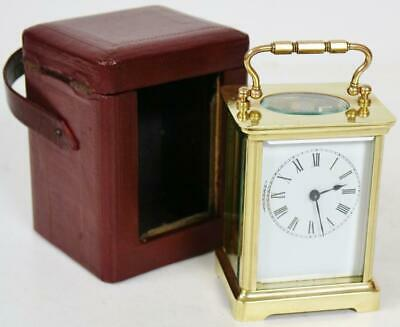 Antique French 8 Day Brass & Glass Timepiece Carriage Clock In Carry/Travel Case