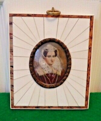 Antique Mary Queen of Scots Miniature Portrait Hand Painted Framed