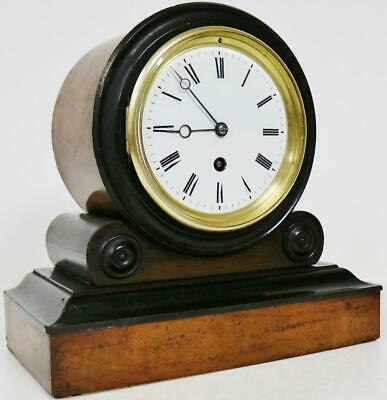 Beautiful Antique French 8 Day Walnut & Ebonised Timepiece Drumhead mantel Clock