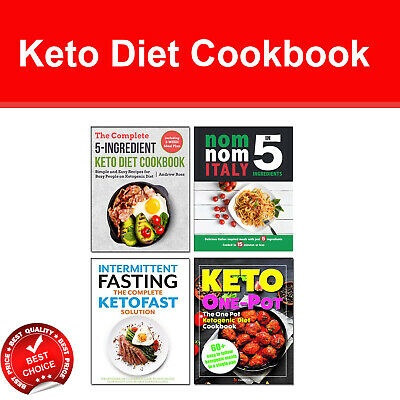 Keto Diet Cookbook 4 books set 5 Ingredients, Keto One Pot, Intermittent Fasting
