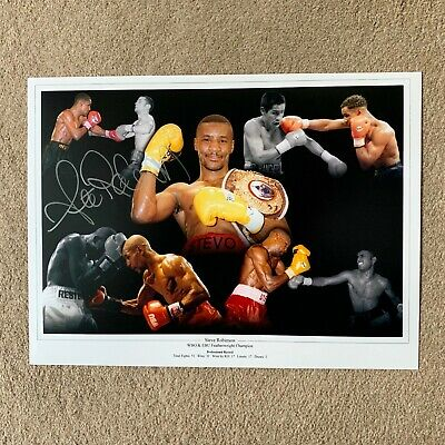 SALE STEVE ROBINSON BOXING HAND SIGNED PHOTO AUTHENTIC + COA - 16x12