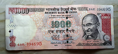 OLD INDIAN CURRENCY 1000 Rupees Note Crispy Banknote One Thousand Only BM695