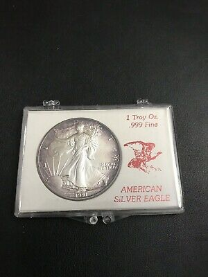 1991 American Silver Eagle Coin 1 TROY OZ .999 in Vintage Hard case Toned