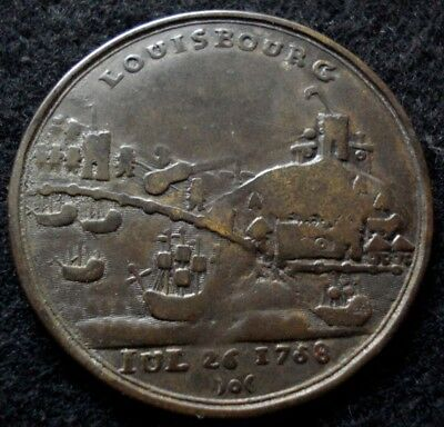1758 Battle of Louisbourg French Indian War Medal Scarce NICE