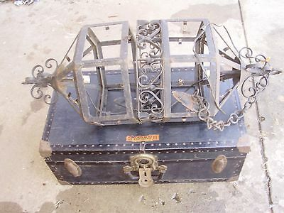 Spanish 1920'S  Revival Tudor Hexagon Cage - Wrought Iron Chandeleir Tall!
