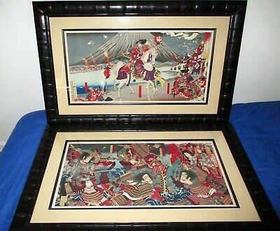 Framed Pair of Japanese Woodblock Prints Triptych Samurai and Daimyo Scenes