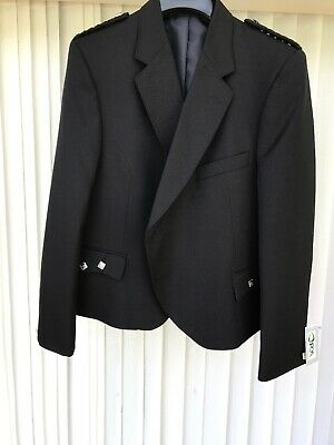 Argyll Kilt Jacket Blazer Black 42/44 New Formal/Alternative Quirky Fashion