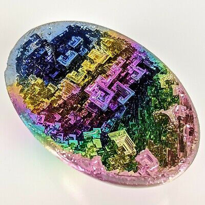 GEMCORE: One(1) Ultra-Vivid Bismuth Egg Rainbow Geode Crystal Chakra Dragon Egg