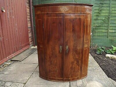 Victorian mahogany bow corner cupboard, lovely - with inlaid patterns
