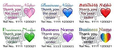 Thank you for your order Heart Cards 50 Personalised