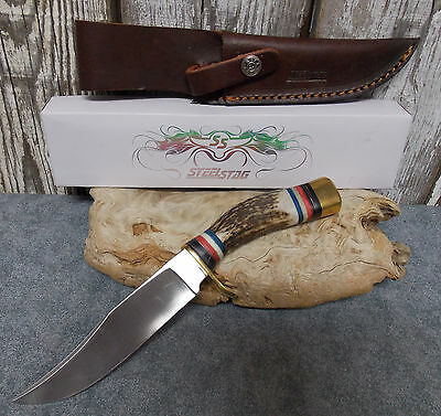 "Steel Stag 9 3/4"" Large Hunter Fixed Blade Knife With Sheath #Ss-7011 New"