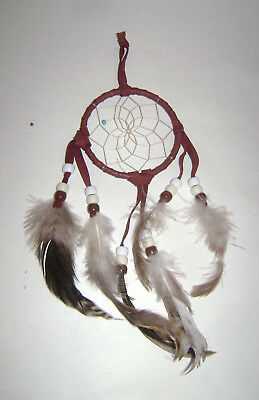 Handmade Dream Catcher with feathers wall hanging decoration ornament Brown 10""