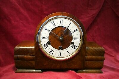 Art Deco 8-Day Oak Mantel Clock 'Haller' with Westminster and Whittington chime