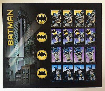 USPS - BATMAN Forever STAMP Sheet - 75 ANNIV. Comics Gotham - FREE SHIP
