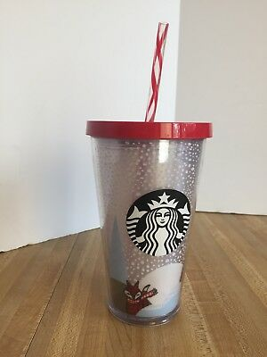 e95760152d2 Starbucks Plastic Double Wall Cold Cup 16 oz Grande Straw Tumbler Christmas  Fox