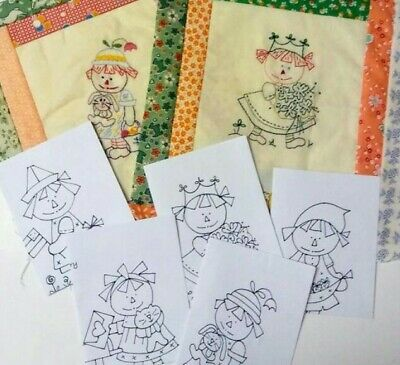 Set of 12 Raggedy Ann Redwork Patterns from Monthly Stitch A Long