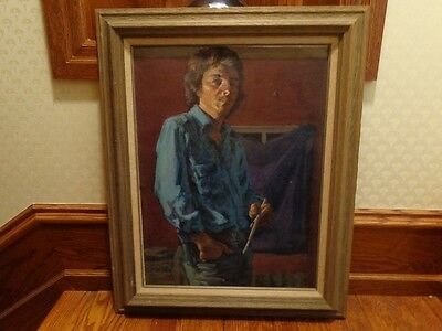 Original Portrait Oil Painting by Larry Wheeler, Listed Artist, Signed, 1976