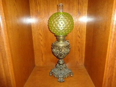 Antique Ornate Victorian Bradley & Hubbard Gilt Spelter Metal Fluid Oil Lamp