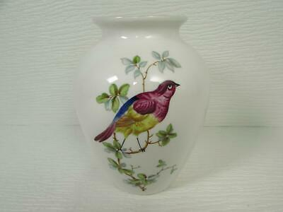 "Spode England Fine Bone China 5.5"" Vase Colorful Birds Green Plants Gold Trim"