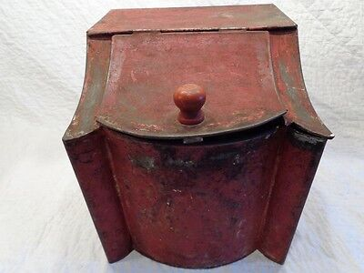 Antique 19th.c Tin Toleware Tea Storage Container w Original Red Paint