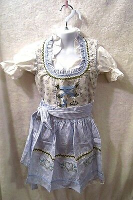 Girls,Kids,sz 6,Germany,German,Trachten,May,Oktoberfest,Dirndl Dress,3-pc.Blues