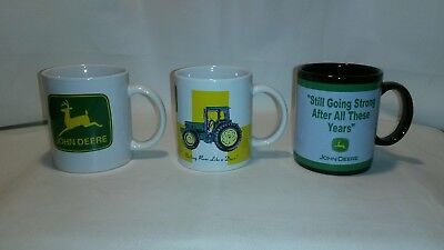 ☆ Lot Of 3 John Deere Tractor Coffee Mug Cup -Free Shipping