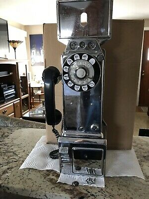 Vintage Chrome western Electric Co. Pay Phone Telephone 3 Slot Rotary Dial