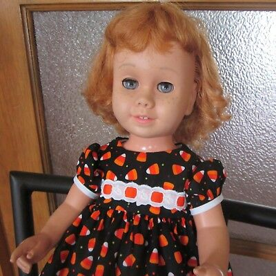 Candy Corn and Eyelet Black Halloween Dress for Chatty Cathy, American Girl