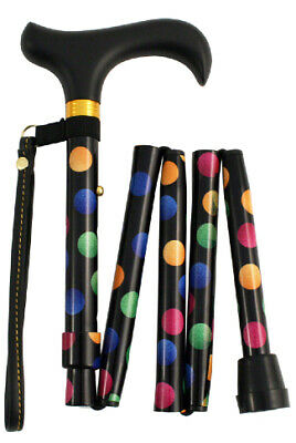 Handbag Sized Folding Walking Stick by Charles Buyers - Multi Spots