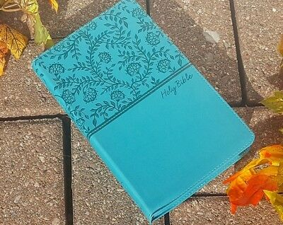 NEW! Holy Bible by Thomas Thomas Nelson (2017, Leather) Beautiful Turquoise
