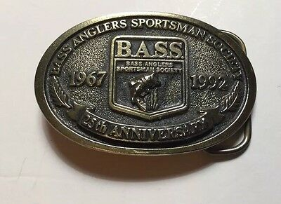 1967-1992 BASS Anglers Sportsman Society Fishing Belt Buckle 25th Anniversary ..